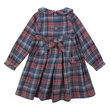 Rachel Riley Baby Girls Pink And Pale Blue Tartan Print Dress With