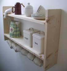 large country pine shelves with cup hooks spice rack kitchen