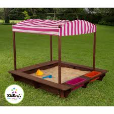 Sandboxes With Canopy And Cover by Kidkraft Outdoor Sandbox With Canopy Pink And White Walmart Com