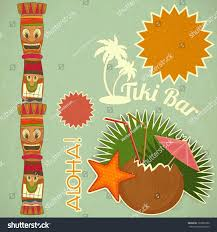 how to say happy thanksgiving in hawaiian vintage hawaiian tiki postcard invitation tiki stock vector