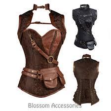 halloween corset brown faux leather underbust medieval steampunk waistcoat corset