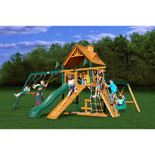 exterior gorilla playset frontier swing set with wood roof canopy