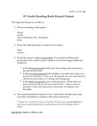 grade book report template book report template for children