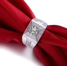 diamond ring for men design 1 ct classic design jewelry sterling silver synthetic