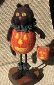 Black Cat Halloween Craft by 107 Best Felted Halloween Images On Pinterest Needle Felting