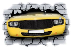 huge 3d car crashing through wall view wall sticker mural decal huge 3d car crashing through wall view wall sticker mural decal film 49