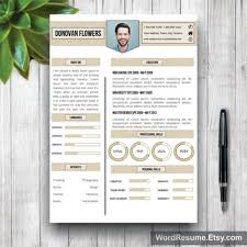 Creative Teacher Resume Templates Clean Resume Template With Photo Cover From Wordresume On Etsy