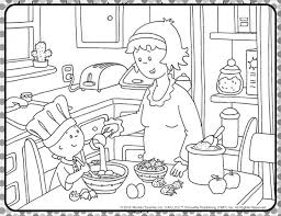 cooking caillou coloring sheet caillou activities
