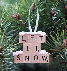 scrabble tile ornament let it snow