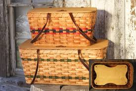 picnic basket set for 2 large project picnic baskets set of 2 w shelf wool gatherings