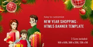 new year shopping html5 banner template by 0effortthemes