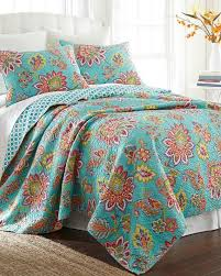 turquoise quilted coverlet madeline floral luxury quilt print quilts bedding bed bath