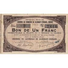 chambre de commerce clermont ferrand billet des chambres de commerce clermont ferrand issoire 1 franc