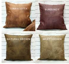 faux leather throw pillows fast shipping piecewise square design four color brown thick faux
