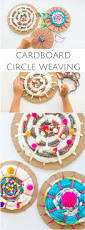 cardboard circle weaving with kids fun recycled yarn art nod
