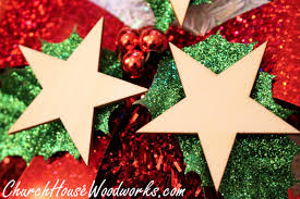 wooden star christmas ornaments set of 25 for sale church house