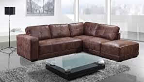 Brand New Carlton Leather Corner Sofa With Footstool Right Hand - Sofa and footstool