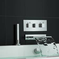 concealed thermostatic shower mixer tap waterfall bath filler and