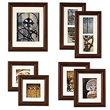 Hanging Prints Amazon Com Gallery Perfect 7 Piece Walnut Wood Photo Frame Wall