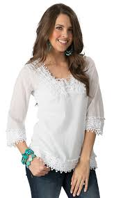 roper women u0027s white with crochet v neck 3 4 sleeve top women u0027s