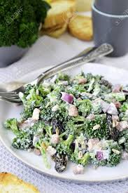 bacon sunflower seeds broccoli salad with bacon and sunflower seeds stock photo picture