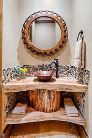 Wood Mirror Frame Bathroom Small Bathroom With Natural Edge Wooden Vanity Also