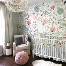 Wallpaper And Curtain Sets Floral Wallpaper Accent Wall In The Nursery So Whimsical And