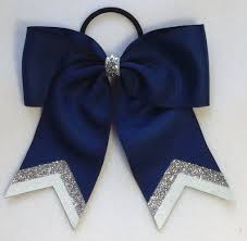 hair bow small navy with silver white glitter tip sport hair bow