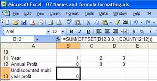 names and formatted formulas