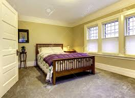 Brown Accent Wall by Bathroom Comely Bedroom Water View Queen Bed And Beige Walls