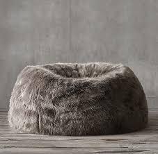 faux fur bean bag graphite