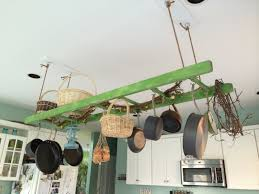 Hanging Cabinet Doors by Kitchen Accessories Green Wooden Hanging Pot And Pan Rack Rattan