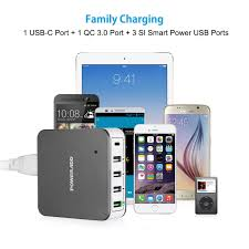 amazon com poweradd 5 port 40w usb type c wall charger quick