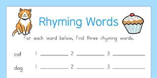 rhyming words worksheet rhyme rhyming worksheet words