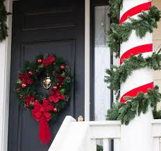 Christmas Decorations For Outside Columns by Front Door Christmas Decoration Ideas
