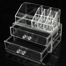 2 drawers acrylic clear makeup organizer cosmetic jewellery