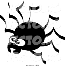 creepy clipart vector of a creepy cartoon spider black and white by zooco 42646