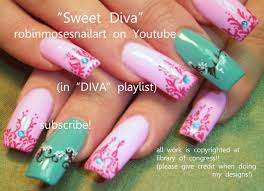 2 nail art tutorials long nail design pink and teal henna