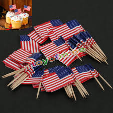 50pcs american usa flag cocktail cupcake food picks sticks