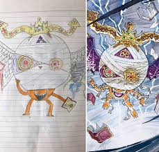 dad recreates sons drawings into the most amazing anime characters