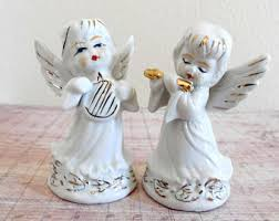 baptism figurines angel harp etsy