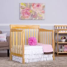 Solid Wood Mini Crib by Dream On Me Aden 4 In 1 Convertible Mini Crib Mystic Gray