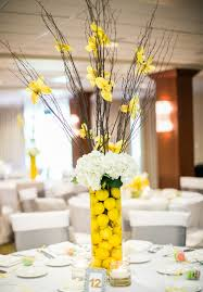 Tall Glass Vase Centerpiece Captivating Yellow And Black Wedding Table Decoration Using Really