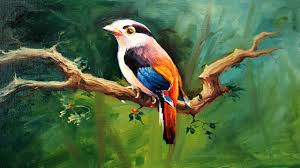 a bird painting with oil colors on canvas by paintlane oil