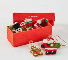 classic mini felted wool ornaments in a box pottery barn