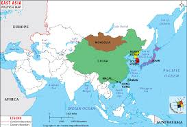 asia map and countries east asia map map of east asian countries
