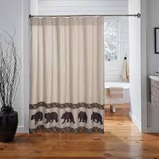 Shower Curtain Brands Delectably Yours Com Vhc Brands Wyatt Appliqué Bear Shower Curtain