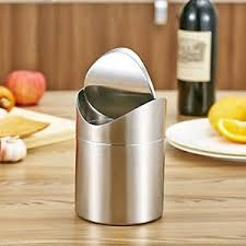 mini desk trash can stainless steel dustbin trash can mini table desk waste container