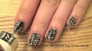 simple diy camouflage nails with studs youtube