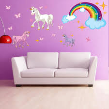 animal wall decals for kids style and apply unicorn set wall decal with rainbow